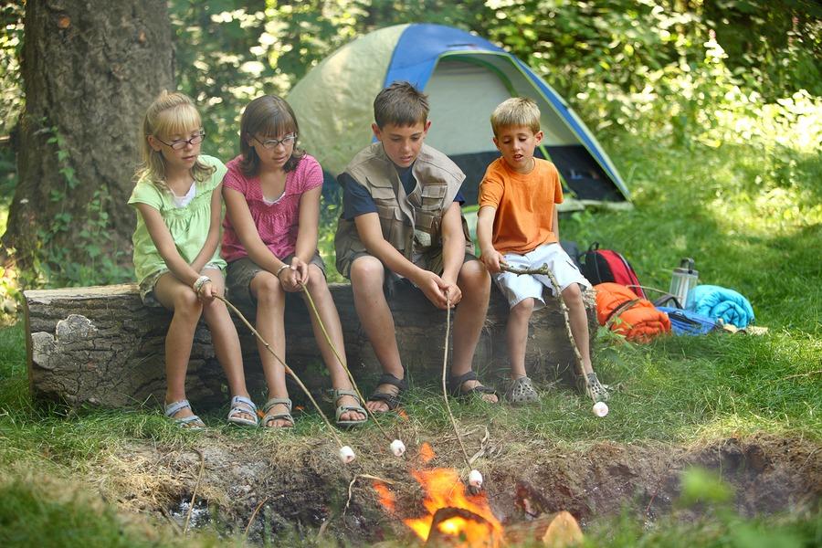 Kids roasting marshmallows at campfire